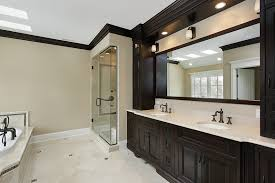 tile bathroom countertop ideas. Master Bathroom Uses White Stone Finish Ceramic Tiles With Accents Of Dark Brown Mosaic Tile Countertop Ideas