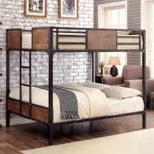 Tap to expand Furniture of America Industrial Metal Wood Full over Bunk Bed