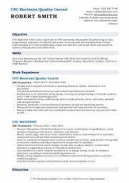 cnc machinist resume sles qwikresume