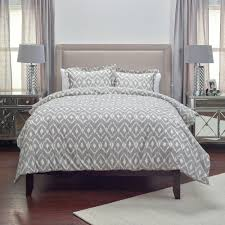 rizzy home natural taupe ikat pattern 3 piece queen bed set