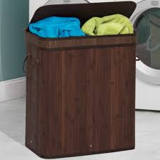 Double Laundry Bamboo Hamper - Dark Brown