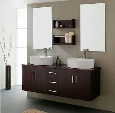exciting vanity drawers applying dark brown color ideas coupled by double white sink and furnished with