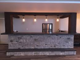 basement bar stone. A Finished Basement Bar Built By The Homeowner With Look Of Real Wood And Stone T