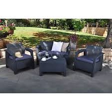 wicker patio furniture. Perfect Furniture Dark Grey Resin Wicker Patio Conversation Seating Set Outdoor Home Furniture In