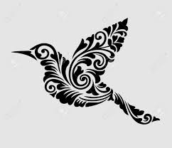 ニースきれいそして滑らかなベクトル飛行鳥花飾り装飾タトゥーシンボル壁紙ステッカーまたはを
