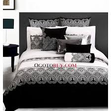 loading zoom full queen size black and white fl cotton 4 piece duvet cover