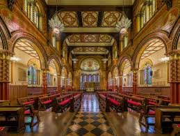 king s college london the grade i listed king s college london chapel on the strand campus seen today was redesigned in 1864 by sir george gilbert scott