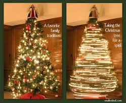 Though this picture makes it look like the tree is spinning very fast, our  revolving tree stand actually goes at a snail's pace.
