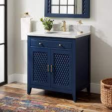 30 Thorton Mahogany Vanity For Undermount Sink Bright Navy Blue Bathroom