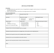 Weekly Evaluation Forms Company Performance Review Template Gallery Of Job Evaluation Form