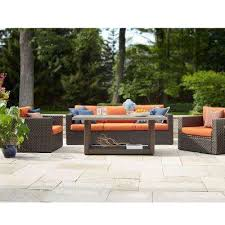 moreno valley 4 piece brown resin wicker patio seating set with sunbrella canvas rust cushions