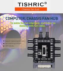 TISHRIC <b>1 to 8 3Pin</b> Fan Hub Pwm Sata Molex Splitter PC Mining ...