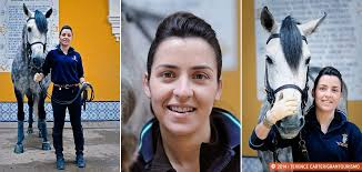 Belen Bautista, the only woman among the 17 professional horse r ...