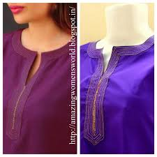 Simple Kurti Neck Designs Images Round Neck Simple Zari Embroidery Work Diy Easy Making