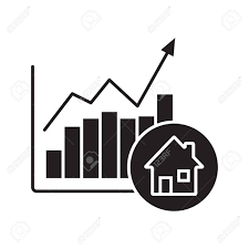 Real Estate Market Growth Chart Glyph Icon Silhouette Symbol