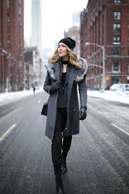 mackage grey wool fur hood coat choker neck