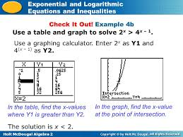 holt mcdougal algebra 2 exponential and logarithmic equations and inequalities in the table find the