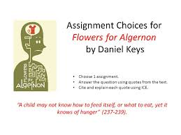 Flowers For Algernon Quotes Magnificent Assignment Choices For Flowers For Algernon By Daniel Keys €�A Child