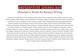 descriptive words for resume self descriptive words resume example  descriptive