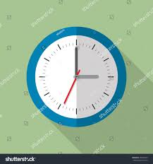 office clock wall. Circle Office Analog Wall Clock. Clock Icon. Flat Style Vector Illustration