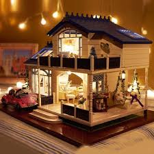 diy wooden doll house furniture handcraft miniature kit with led light colormix