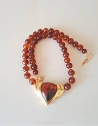 vintage signed napier 18kt gold plated faux amber heart pendant necklace