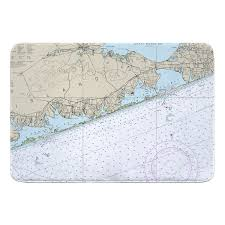 Shinnecock Bay Nautical Chart Ny Moriches Bay To Shinnecock Bay Ny Nautical Chart Memory Foam Bath Mat