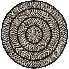 safavieh braided ivory and black round indoor braided area rug common 4 x 4