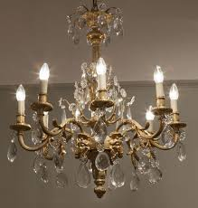 19th century french gilt bronze and cut crystal glass chandelier