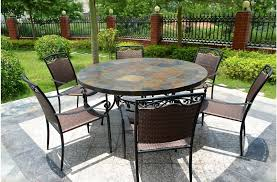 round patio dining table slate