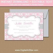 Invitation Downloads Extraordinary Pink And Silver Baby Shower Invitation Template Pink And Etsy