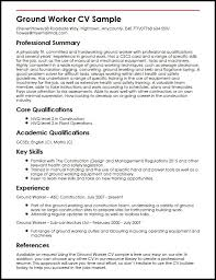 Ground Worker Cv Sample | Myperfectcv