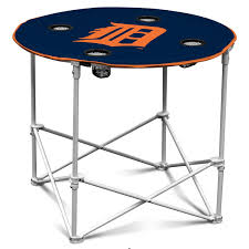 outside table logo detroit tigers blue round picnic camp table with 4 cupholder