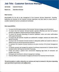 sample customer service manager job description service director job description
