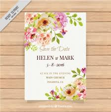 cute wedding invitation with watercolor flowers vector free download Free Downloads Evening Wedding Invitations cute wedding invitation with watercolor flowers free vector Free Online Printable Wedding Invitation