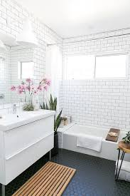 bathroom subway tile ideas. Mid-century Modern Bathroom With White Subway Tiles On The Walls And Black Hexagon Ones Tile Ideas B