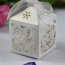 Decorative Favor Boxes Elegant Off White Heart Floral Cut Wedding Favor Box EWFB100 as 2