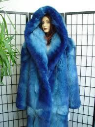 brand new blue fox fur coat for women or men