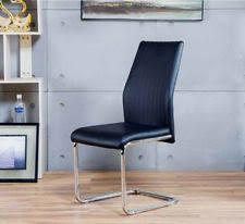 2x lorenzo chrome deep foam black faux leather dining chairs seats metal legs