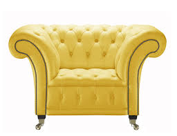yellow leather club chair handcrafted in the uk