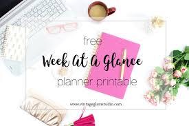 Week At A Glance Planner Printable Vintage Glam Studio