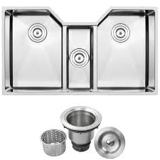 Ticor 355 In X 20 In Brushed Stainless Steel Triple Basin