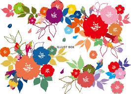 無料イラスト 花飾り春カラフル花束ブーケかわいい装飾手書き背景