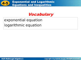 2 voary exponential equation logarithmic equation