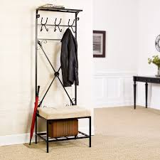 Entry Hall Tree Coat Rack Storage Bench Seat Amazon SEI Black Metal Entryway Storage Bench with Coat Rack 2