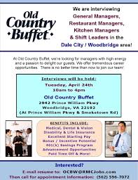 restaurant manager jobs in dale city woodbridge va old country buffet