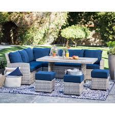 belham living brookville 6 piece all weather wicker sofa sectional patio dining set hayneedle