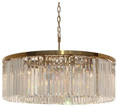 d angelo 12 light round clear glass crystal prism chandelier brass finish