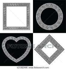 greek key border clip art four frame shapes search ilration wool rug
