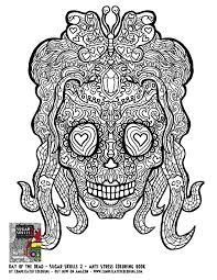 Small Picture Day of the Dead Sugar Skulls 2 Complicated Coloring free adult